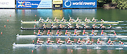 Lucerne, SWITZERLAND. Heat of the Women's eights. top AUS W8+. NZL W8+, ROM W8+ and NED W8+ at the start.  2015 FISA World Cup III, Lake Rotsee,  11:40:10  Friday  10/07/2015   [Mandatory Credit. Peter SPURRIER/Intersport Images]