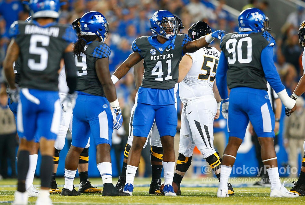 LEXINGTON, KY - OCTOBER 07: Josh Allen #41 of the Kentucky Wildcats motions at the bench during the game against the Missouri Tigers at Commonwealth Stadium on October 7, 2017 in Lexington, Kentucky. (Photo by Michael Hickey/Getty Images) *** Local Caption *** Josh Allen