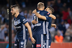 February 23, 2019 - Melbourne, VIC, U.S. - MELBOURNE, VIC - FEBRUARY 23: Melbourne Victory forward Kosta Barbarouses (9) celebrates with team mates at round 20 of the Hyundai A-League Soccer between Melbourne City FC and Melbourne Victory on February 23, 2019 at Marvel Stadium, VIC. (Photo by Speed Media/Icon Sportswire) (Credit Image: © Speed Media/Icon SMI via ZUMA Press)