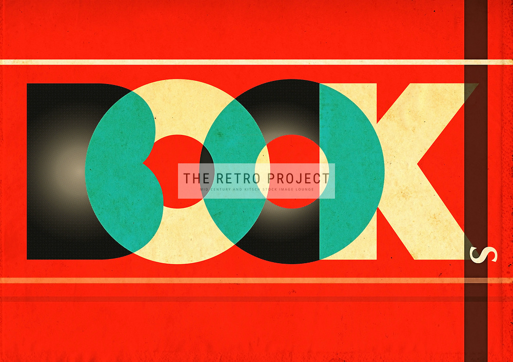 Books Retro Typographic aged illustration with red background