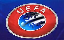 File photo dated 13-10-2020 of A general view of a UEFA badge. UEFA has set out its plans for the hosting of Euro 2028 - a tournament which would clash with the first of FIFA's biennial World Cups if those proposals are approved. Issue date: Tuesday October 12, 2021.