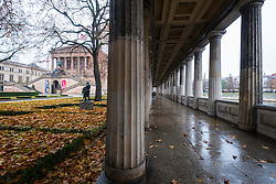 Autumn view of collonade and Alte Nationalgalerie  on Museumsinsel, Berlin, Germany