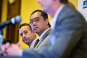 Kim Burdick of Fremont Bank, left, listens as others speak during a panel discussion during the Silicon Valley Business Journal's Future of Fremont event at Fremont Marriott Silicon Valley in Fremont, California, on June 18, 2019.  (Stan Olszewski for Silicon Valley Business Journal)