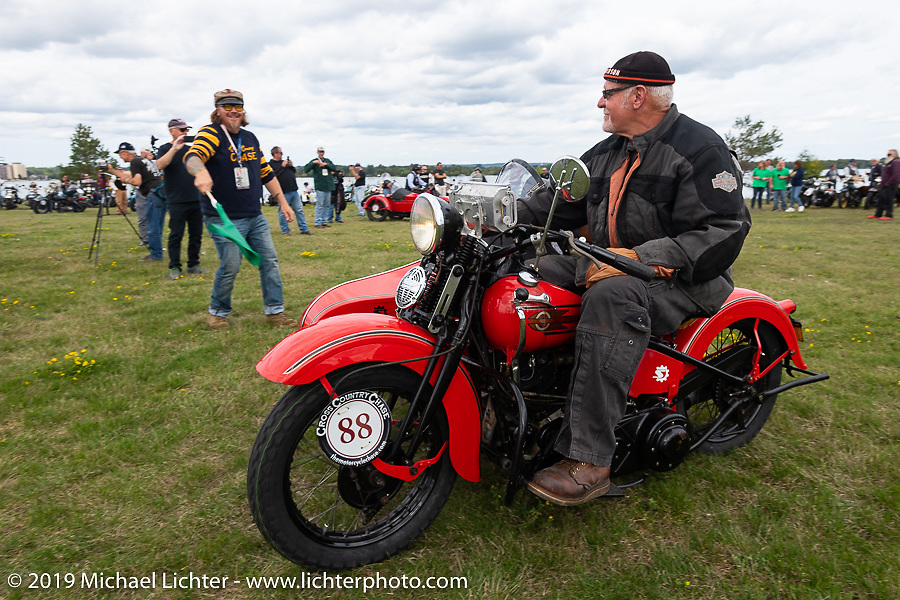 Erik Dunk, known to everyone simply as Dunk, with his 1937 Harley-Davidson EL during the Aune Osborne Park in Sault Sainte Marie, the site of the official start of the Cross Country Chase motorcycle endurance run from Sault Sainte Marie, MI to Key West, FL. (for vintage bikes from 1930-1948). Thursday, September 5, 2019. Photography ©2019 Michael Lichter.