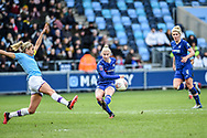 Bethany England (9) of Chelsea WFC shoots at goal during the FA Women's Super League match between Manchester City Women and Chelsea at the Sport City Academy Stadium, Manchester, United Kingdom on 23 February 2020.