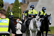 MELBOURNE, VIC - SEPTEMBER 05: Police on horses during the Anti-Lockdown Protest on September 05, 2020 in Sydney, Australia. Stage 4 restrictions are in place from 6pm on Sunday 2 August for metropolitan Melbourne. This includes a curfew from 8pm to 5am every evening. During this time people are only allowed to leave their house for work, and essential health, care or safety reasons. (Photo by Dave Hewison/Speed Media)