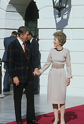 Prince Charles, Prince of Wales, and Diana, Princess of Wales, visit Washington DC. President of the USA Ronald Reagan and the First Lady Nancy Reagan, Outside the White House. EXPA Pictures © 2016, PhotoCredit: EXPA/ Photoshot/ John Shelley Collection<br /> <br /> *****ATTENTION - for AUT, SLO, CRO, SRB, BIH, MAZ, SUI only*****