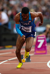 London, 2017 August 07. Kyree King, USA, in the men's men's 200m heats on day four of the IAAF London 2017 world Championships at the London Stadium. © Paul Davey.