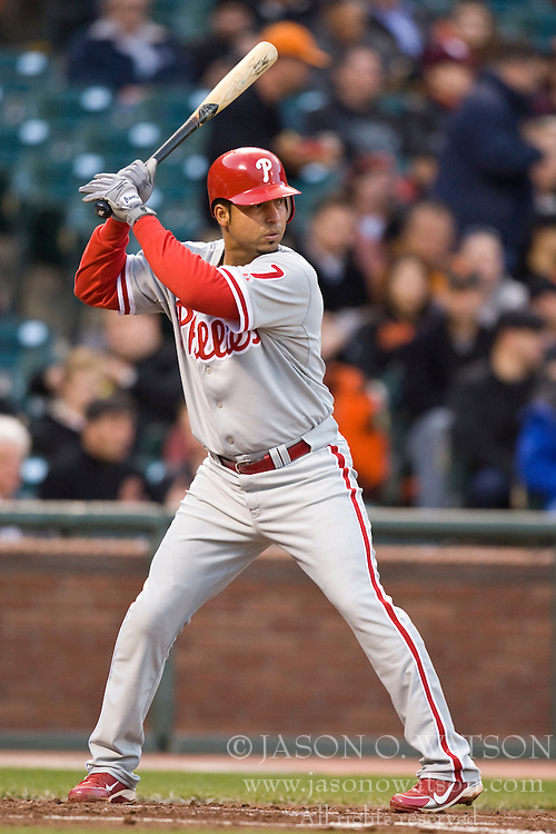 April 27, 2010; San Francisco, CA, USA;  Philadelphia Phillies shortstop Juan Castro (7) at bat against the San Francisco Giants during the second inning at AT&T Park. San Francisco defeated Philadelphia 6-2.