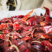 Detail of red chillies for sale at a Mexican market
