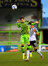 Nicky Cadden of Forest Green Rovers heads the highball - Mandatory by-line: Nizaam Jones/JMP - 16/01/2021 - FOOTBALL - innocent New Lawn Stadium - Nailsworth, England - Forest Green Rovers v Port Vale - Sky Bet League Two