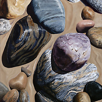 The striped patterns within these beach stones is gently repeated in the sand where retreating waves have left their mark. <br /> 24 x 30, oil on birch panel