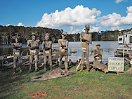 Driftwood sculptures of the Swamp people at Adam's Cypress Swamp Driftwood Family Museum in Pierre Part, Louisiana,
