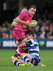 Rhys Crane of London Welsh is tackled by Ollie Devoto of Bath Rugby - Photo mandatory by-line: Patrick Khachfe/JMP - Mobile: 07966 386802 01/11/2014 - SPORT - RUGBY UNION - Bath - The Recreation Ground - Bath Rugby v London Welsh - LV= Cup