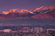 Sunset light on summit of Mount Diablo after a winter storm over Pleasant Hill, Contra County, CALIFORNIA
