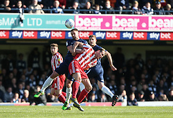 John White of Southend United wins a header against Charlie Wyke of Sunderland- Mandatory by-line: Arron Gent/JMP - 04/05/2019 - FOOTBALL - Roots Hall - Southend-on-Sea, England - Southend United v Sunderland - Sky Bet League One
