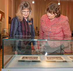Pictured: Fiona Hyslop and Dr Anette Hagan, Early Printed Collections to 1700 Curator<br />