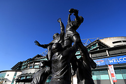 General view of the stadium with the bronze rugby line-out statue ahead of the Quilter International match at Twickenham Stadium, London