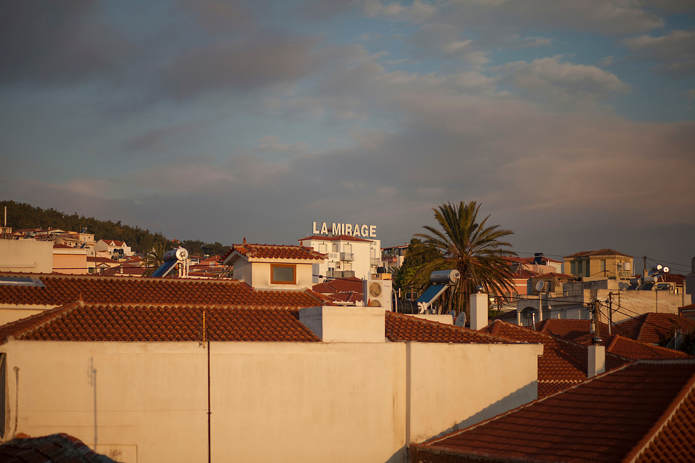 """Rooftops in the Islands capital, Mytilini, with hotel """"La Mirage"""" in the center."""