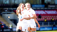 Caption Template Rugby Union - 2021 Women Six Nations - Pool A - England vs Scotland - Castle Park, Doncaster<br /> <br /> Helena Rowland of England celebrates scoring a try at Castle Park <br /> <br /> Credit COLORSPORT/LYNNE CAMERON