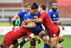 Hendrik Tui of Japan is tackled by Dmitry Gerasimov of Russia <br /> <br /> Photographer Craig Thomas<br /> <br /> Japan v Russia<br /> <br /> World Copyright ©  2018 Replay images. All rights reserved. 15 Foundry Road, Risca, Newport, NP11 6AL - Tel: +44 (0) 7557115724 - craig@replayimages.co.uk - www.replayimages.co.uk