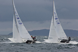 International Dragon Class Edinburgh Cup 2015.<br /> <br /> The first days racing in a strong southerly.<br /> <br /> GBR760, HANDSOFF, Mike Holmes, RCYC ( Burnham ) and GBR761, JERBOA, Gavia Wilkinson-Cox, RORC<br /> <br /> <br /> Credit Marc Turner