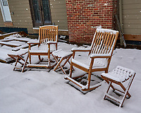 Lonely Chairs on the Patio after the First Snow. Autumn Backyard Nature in New Jersey. Image taken with a Leica T camera and 11-23 mm lens (ISO 400, 18.5 mm, f/5.6, 1/640 sec)