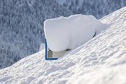 THEMENBILD - Eingeschneites Ortsschild von Grossdorf, am Freitag 11. Dezember 2020 in Kals // Snowed in village sign of Grossdorf on Friday, December 11 2020 in Kals. EXPA Pictures © 2020, PhotoCredit: EXPA/ Johann Groder