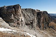 Ascending a scree gully below the cliffs of Predigersthl, Nockberge National Park, a UNESCO Biosphere Reserve. Alpe Adria Trail, Carinthia, Austria (October 2015) © Rudolf Abraham