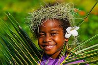 Kanak (Melanesian) girl, Hnathalo, Lifou (island), Loyalty Islands, New Caledonia