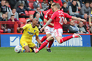 \w8 getting fouled during the EFL Sky Bet League 1 match between Charlton Athletic and AFC Wimbledon at The Valley, London, England on 28 October 2017. Photo by Matthew Redman.