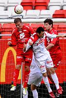 Fotball<br /> 24. September 2011<br /> NM G19<br /> Semifinale <br /> Brann Stadion<br /> Brann v Fredrikstad 5 -1<br /> Jonas Grønner (L) , Henrik Gjesdal (R) ,  Brann<br /> Argtim Shabani (M) , Fredrikstad<br /> Foto: Astrid M. Nordhaug