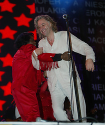 James Brown and Bob Geldof perform on stage..50,000 people filed into Murrayfield Stadium in Edinburgh, Scotland, on Wednesday July 6, 2005. The free gig, labelled Edinburgh 50,000 - The Final Push was the last of Bob Geldof's momentous Live 8 concerts..Pic ©2010 Michael Schofield. All Rights Reserved.