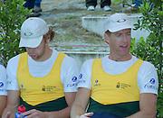 Vienna AUSTRIA.  Men's Pair Medalist.  Gold. AUS. M2- James TOMKINS and Drew GINN. 2000 FISA World Cup. 2nd Round. Vienna Neue Donau Rowing Course  [Mandatory Credit. Peter Spurrier/Intersport Images]