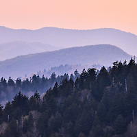 Telephoto lens compression of the distant mountains at Clingman's Dome