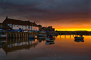 Burnham Overy quay at sunset, Norfolk, Uk