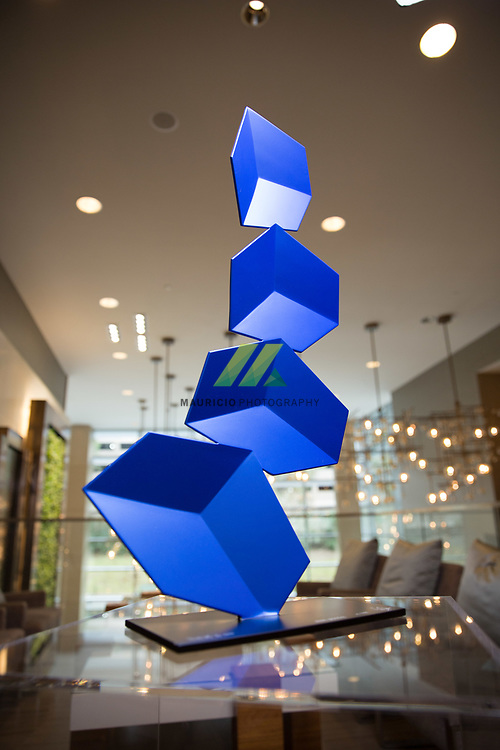 Rafael Barrios's geometric sculptures manipulate the eye into seeing depth in flat sheets of brightly colored metal.