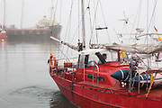 Captain Krzysztof Rozanski docks the Eltanin at the port in Longyearbyen, Svalbard. The yacht sails from Poland to Svalbard every summer to provide transportation to researchers and tourists.