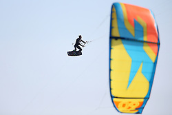 Gijs Wassenaar of Holland in action during the Red Bull King of the Air kiteboarding competition held at Big Bay in Cape Town, South Africa on the 2nd February 2017.<br /> <br /> Photo by Shaun Roy