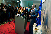 March 14, 2013 - After a meeting of EU foreign policy chief Catherine Ashton, with Kosovo's PM and President Atifete Jahjaga, as well as with the few opposition leaders leader of Kosovo's second oppositional party Ramush Haradinaj (in picture) held a press conference in Pristina, on March 14, 2013. Ashton made a brief visit to Pristina for progress in EU-mediated talks aimed at normalizing ties between Kosovo and Serbia. (Credit Image: © Vedat Xhymshiti/ZUMAPRESS.com)