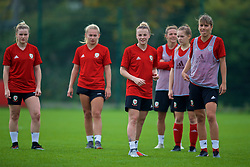 NEWPORT, WALES - Friday, October 5, 2018: Wales' Kylie Nolan (L) and Gemma Evans (R) during a training session at Dragon Park. (Pic by David Rawcliffe/Propaganda)