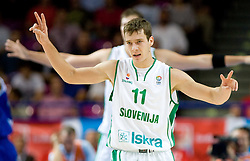 Goran Dragic (11) of Slovenia during the basketball match at 1st Round of Eurobasket 2009 in Group C between Slovenia and Serbia, on September 08, 2009 in Arena Torwar, Warsaw, Poland. Slovenia won 84:76. (Photo by Vid Ponikvar / Sportida)