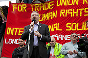Len McCluskey is the General Secretary of the British and Irish union Unite and a former Liverpool dock worker. Demonstration by unions and other organisations of workers to mark the annual May Day or Labour Day. Groups from all nationalities from around the World, living in London gathered to march to a rally in central London, UK.