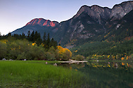 Hope Mountain alpenglow at Silver Lake Provincial Park near Hope, British Columbia, Canada