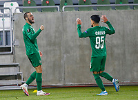 RAZGRAD, BULGARIA - OCTOBER 22: Higinio Marin of Ludogorets celebrates after scoring his goal with Cauly Souza of Ludogorets during the UEFA Europa League Group J stage match between PFC Ludogorets Razgrad and Royal Antwerp at Ludogorets Arena on October 22, 2020 in Razgrad, Bulgaria. (Photo by Nikola Krstic/MB Media)
