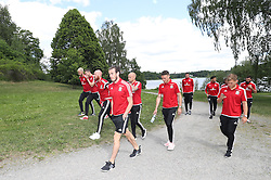 STOCKHOLM, SWEDEN - Sunday, June 5, 2016: Wales' Gareth Bale and his team during a pre-match walk at the Royal Park Hotel ahead of the international friendly match against Sweden. (Pic by David Rawcliffe/Propaganda)