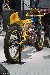 Larry Houghton's Lamb Engineering 140cc Lifan powered Road Runner on display at the AMD World Championship of Custom Bike Building show in the custom dedicated Hall 10 at the Intermot Motorcycle Trade Fair. Cologne, Germany. Saturday October 8, 2016. Photography ©2016 Michael Lichter.