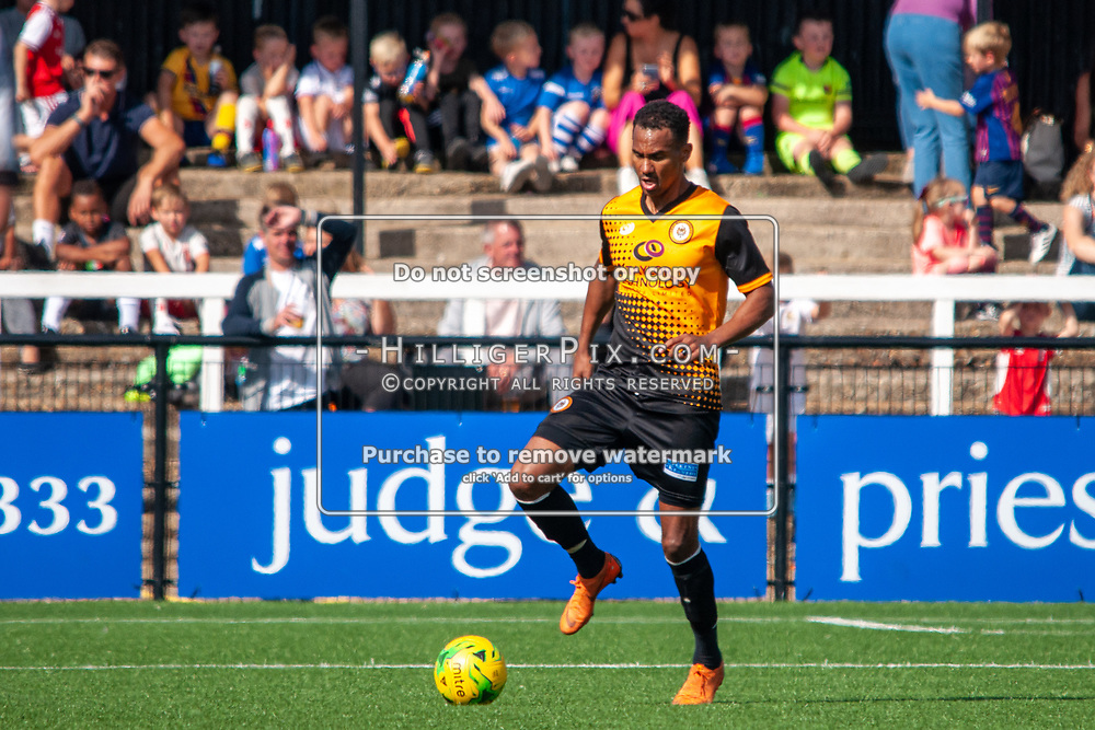 BROMLEY, UK - SEPTEMBER 08: Mitchell Nelson, of Cray Wanderers FC, during the Emirates FA Cup First Qualifying Round match between Cray Wanderers FC and Bedfont Sports Club at Hayes Lane on September 8, 2019 in Bromley, UK. <br /> (Photo: Jon Hilliger)