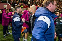 Bristol City Assistant Head Coach Jamie McAllister congratulates Manchester City manager Pep Guardiola after Manchester City win 2-3 - Rogan/JMP - 23/01/2018 - Ashton Gate Stadium - Bristol, England - Bristol City v Manchester City - Carabao Cup Semi Final Second Leg.