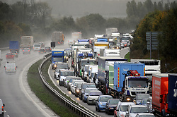 © Licensed to London News Pictures. 28/10/2013<br /> Traffic on the M25 at Swanley  aniti-clockwise towards Dartford crossing is at a standstill this afternoon (28.10.2013) due an accident involving two lorries. Traffic is backed up to J4.<br /> Photo credit :Grant Falvey/LNP